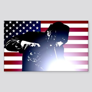 Welding: Welder & American Flag Sticker