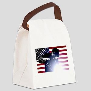 Welding: Welder & American Flag Canvas Lunch Bag