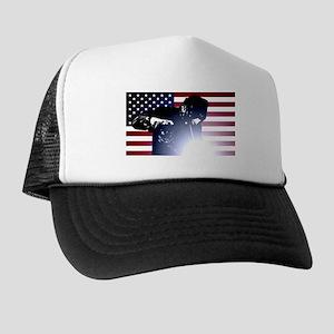 Welding: Welder & American Flag Trucker Hat