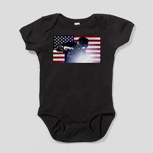 Welding: Welder & American Flag Baby Bodysuit