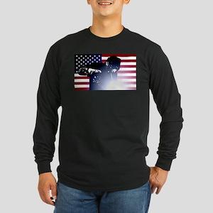 Welding: Welder & American Flag Long Sleeve T-Shir