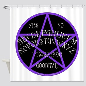 PurplePentagramDwhite Shower Curtain