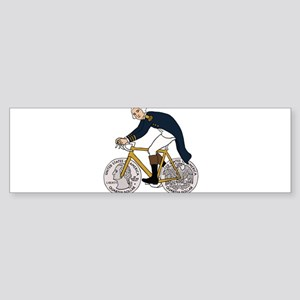 George Washington On Bike With Quar Bumper Sticker
