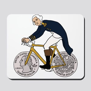 George Washington On Bike With Quarter W Mousepad