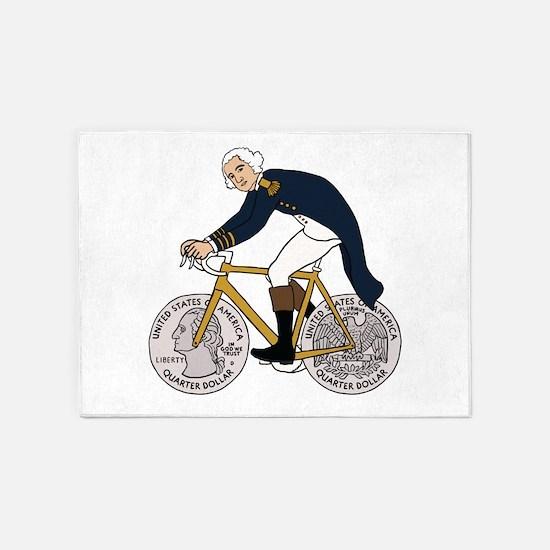 George Washington On Bike With Quar 5'x7'Area Rug