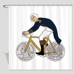 George Washington On Bike With Quar Shower Curtain
