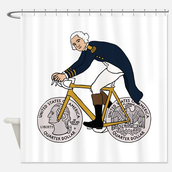 George Washington On Bike With Quar Shower Curtain