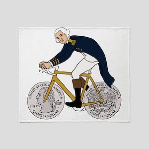 George Washington On Bike With Quart Throw Blanket