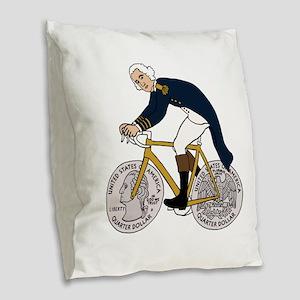 George Washington On Bike With Burlap Throw Pillow