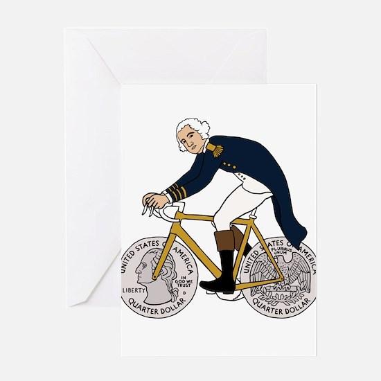 George Washington On Bike With Quar Greeting Cards