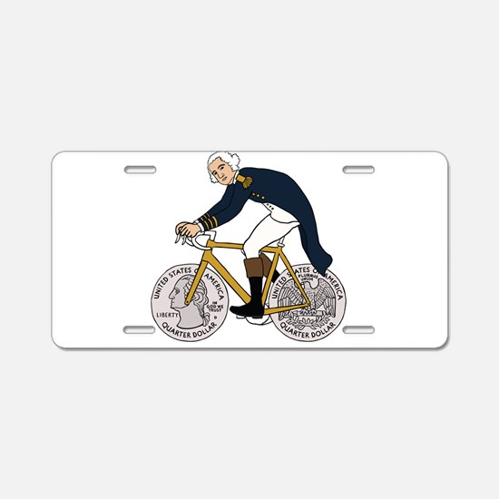 George Washington On Bike W Aluminum License Plate