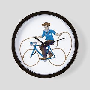 Cowboy Riding Bike With Lasso Wheels Wall Clock