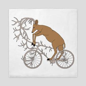 Deer Riding His Antler Bike Queen Duvet