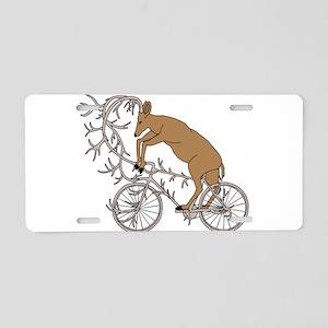 Deer Riding His Antler Bike Aluminum License Plate