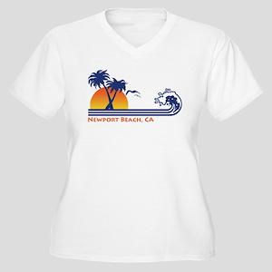 Newport Beach CA Women's Plus Size V-Neck T-Shirt