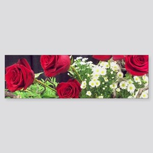Cluster of Red Roses With White Flo Bumper Sticker