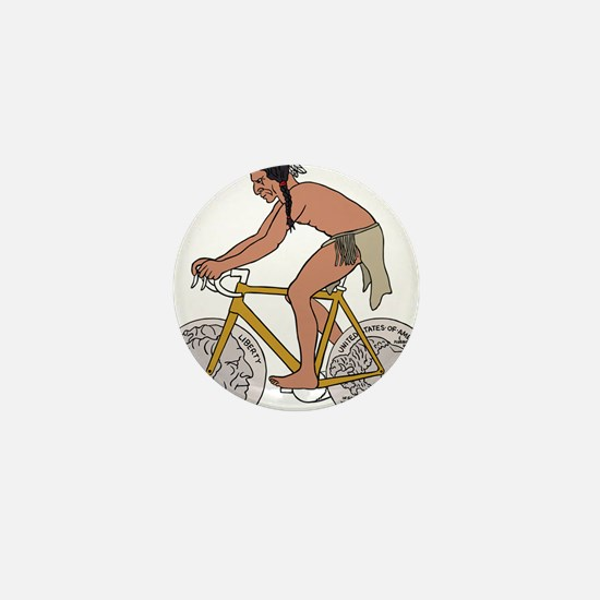 Native American On Bike W/ Buffalo Hea Mini Button