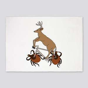 Deer Riding Bike With Deer Tick Whe 5'x7'Area Rug