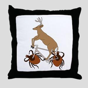 Deer Riding Bike With Deer Tick Wheel Throw Pillow