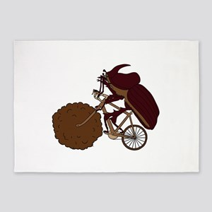 Dung Beetle Riding Bike With Dung W 5'x7'Area Rug