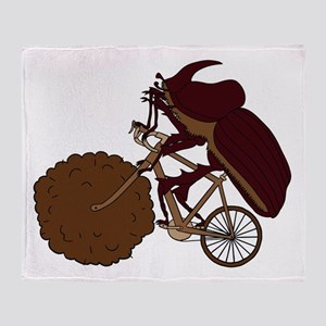 Dung Beetle Riding Bike With Dung Wh Throw Blanket