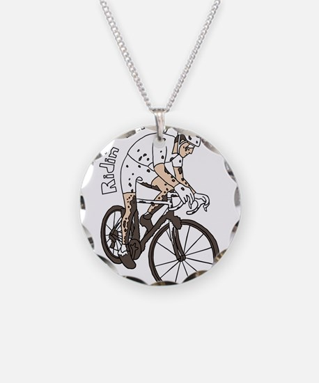 Cyclocross Rider Riding Dirt Necklace