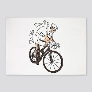 Cyclocross Rider Riding Dirty 5'x7'Area Rug