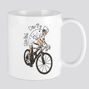 Cyclocross Rider Riding Dirty Mugs