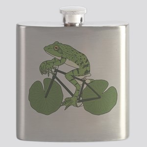 Frog Riding Bike With Lily Pad Wheels Flask