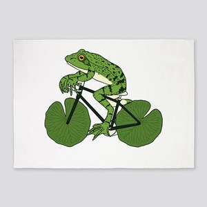 Frog Riding Bike With Lily Pad Whee 5'x7'Area Rug
