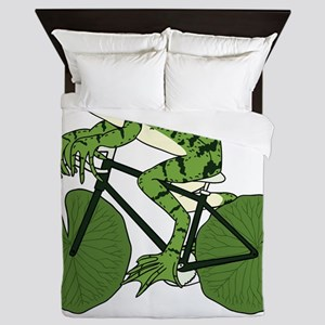 Frog Riding Bike With Lily Pad Wheels Queen Duvet