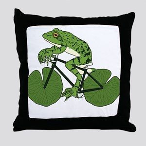 Frog Riding Bike With Lily Pad Wheels Throw Pillow