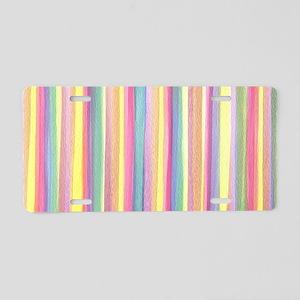 Watercolor Stripes Aluminum License Plate