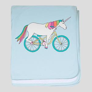 Unicorn Riding Bike baby blanket