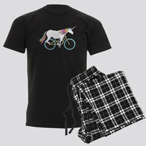 Unicorn Riding Bike Men's Dark Pajamas