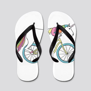 Unicorn Riding Bike Flip Flops