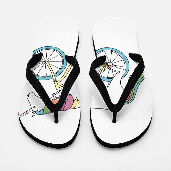 Unicorn Riding Bike Flip Flops