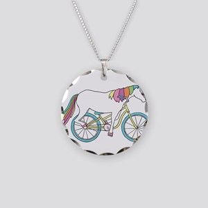 Unicorn Riding Bike Necklace Circle Charm