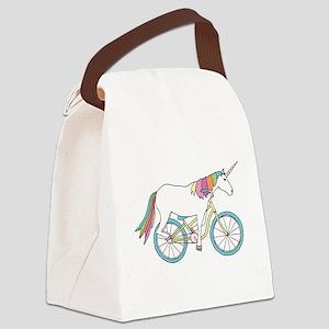 Unicorn Riding Bike Canvas Lunch Bag