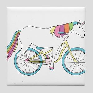 Unicorn Riding Bike Tile Coaster