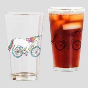Unicorn Riding Bike Drinking Glass