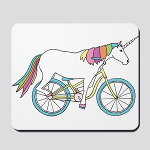 Unicorn Riding Bike Mousepad