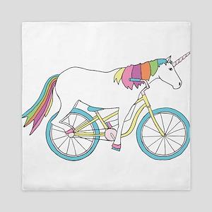 Unicorn Riding Bike Queen Duvet