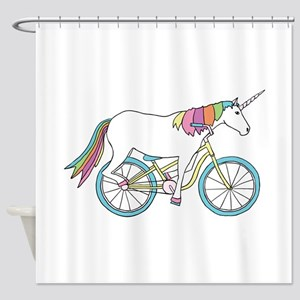 Unicorn Riding Bike Shower Curtain