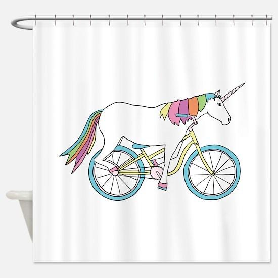 Unicorn Riding Bike Shower Curtain