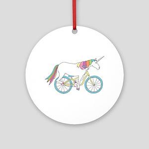 Unicorn Riding Bike Round Ornament