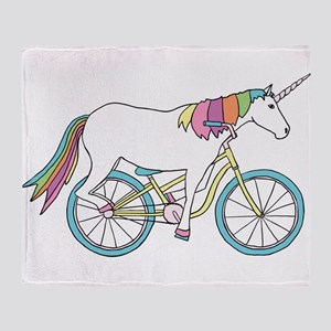 Unicorn Riding Bike Throw Blanket