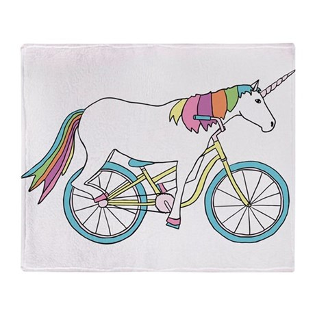 Unicorn Riding Bike Throw Blanket By ADMINCP40 New Bicycle Throw Blanket