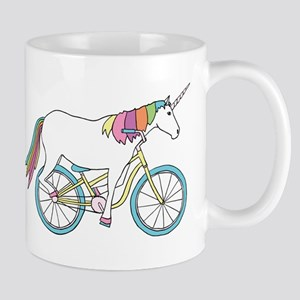 Unicorn Riding Bike Mugs