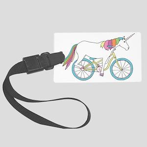 Unicorn Riding Bike Large Luggage Tag